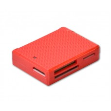 USB 2.0 Card Reader, 5 Slots, All-in-1, Red Color