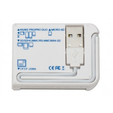 USB 2.0 Card Reader, 5 Slots, All-in-1, White Color