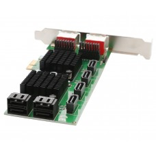 8 Port SATA III and eSATA 6G PCI-e 2.0 x1 Card