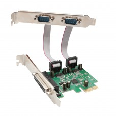 2 Port DB9 Serial and 1 Port DB25 Parallel Printer PCI-Express 2.0 x1 Combo Card