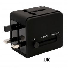 Universal Travel Adapter, International Plug (US / UK / EU / AU) with 2-Port USB Type-A Charging Port, Input: AC100-250V