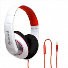 Over the Ear Red and Black Stereo Wired Headphone with In-Line Microphone
