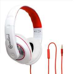 Red Over the Ear Stereo Wired Headphone with In-Line Microphone