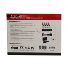 4 Port VGA KVM Switch with USB 2.0, Speaker, Microphone, Printer and Thumb Drive Support