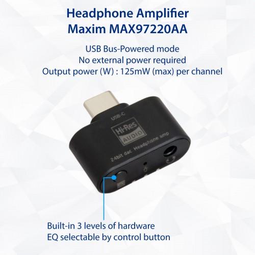 96 KHz 24 Bit DAC Type-C Audio Adapter to 3 5mm Headphone