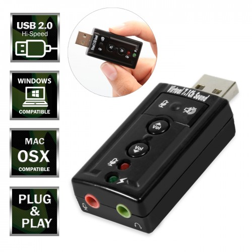 8.1 Channel USB 2.0 Sound Card Virtual 3D Audio Adapter for Vista//Linux//Mac CM