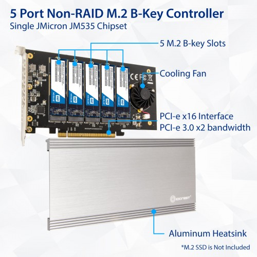5 Slot M 2 B-key SATA Base PCI-e 3 0 x2 Bandwidth Controller