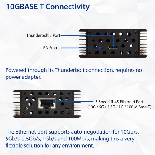 10 Gigabit Ethernet Network Thunderbolt 3 Adapter