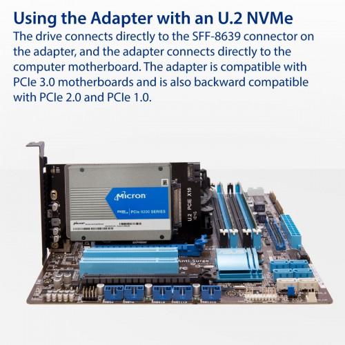 2 5-inch U 2 NVMe drive to PCI Express x16 Slot card or SATA