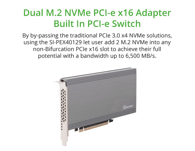Dual M 2 NVMe Ports to PCIe 3 0 x16 Bifurcation Riser Controller